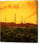 Industrial Chimney Stacks In Natural Landscape Polluting The Air Canvas Print
