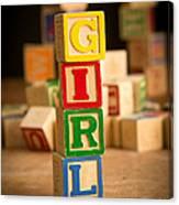 Its A Girl - Alphabet Blocks Canvas Print