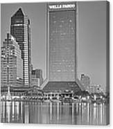 Jacksonville Florida Black And White Panoramic View Canvas Print