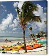 Kayaks On The Beach Canvas Print