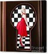 Keyhole Retro Fashion Portrait Of Stylish Girl Canvas Print