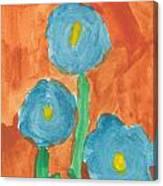 Kid Watercolor Drawing - Three Flowers Canvas Print
