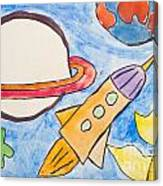Kid's Painting Of Universe With Planets And Stars Canvas Print