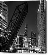 Kinzie Street Railroad Bridge At Night In Black And White Canvas Print