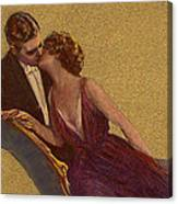 Kissing On The Chaise-longue Valentine Canvas Print