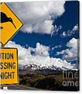 Kiwi Crossing Road Sign And Volcano Ruapehu Nz Canvas Print