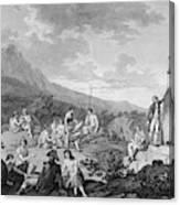 La Perouse Visits Easter Island Canvas Print