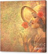 1-lady In The Flower Garden Canvas Print