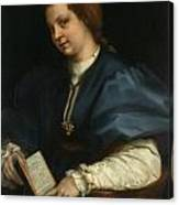 Lady With A Book Of Petrarch's Rhyme Canvas Print