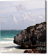Large Boulder On A Caribbean Beach Canvas Print