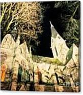 Large Stone Church At Night Canvas Print