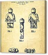 Lego Toy Figure Patent - Vintage Canvas Print
