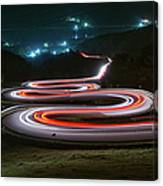 Light Trails Of Cars On The Zigzag Way Canvas Print