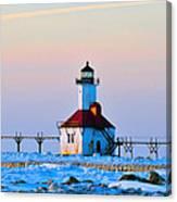 Lighthouse On Ice Canvas Print