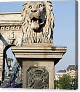 Lion Sculpture On Chain Bridge In Budapest Canvas Print