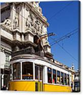 Lisbon's Typical Yellow Tram In Commerce Square Canvas Print