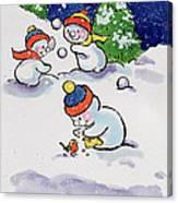 Little Snowmen Snowballing Canvas Print