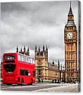London The Uk Red Bus In Motion And Big Ben Canvas Print