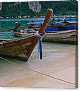 Longtail Boats Moored On The Beach Canvas Print