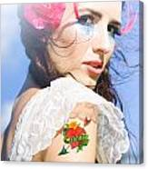 Love Heart And Arrow Tattoo Canvas Print