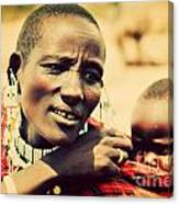 Maasai Baby Carried By His Mother In Tanzania Canvas Print