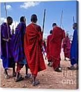 Maasai Men In Their Ritual Dance In Their Village In Tanzania Canvas Print
