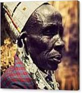 Maasai Old Woman Portrait In Tanzania Canvas Print