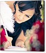 Maid Of Honour Signing Wedding Registar Canvas Print