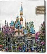Main Street Sleeping Beauty Castle Disneyland 01 Canvas Print