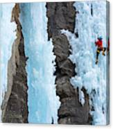 Man Ice Climbing In Ceresole Reale Ice Canvas Print
