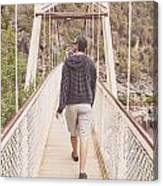 Man On Alexandra Suspension Bridge In Tasmania Canvas Print