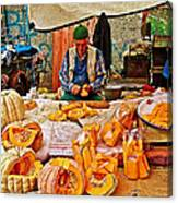 Man Peeling Squash In Antalya Street Market-turkey Canvas Print