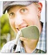 Man With Golf Club Canvas Print