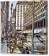 Manhattan On Map Canvas Print