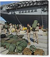 Marines Move Gear During An Embarkation Canvas Print