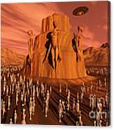 Martians Gathering Around A Monument Canvas Print