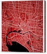 Melbourne Street Map - Melbourne Australia Road Map Art On Color Canvas Print