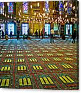 Men Inside The Blue Mosque In Istanbul-turkey Canvas Print