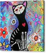 Meow II Day Of The Dead Canvas Print
