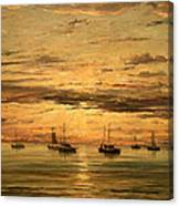 Mesdag's Sunset At Scheveningen -- A Fleet Of Shipping Vessels At Anchor Canvas Print