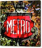 Metro Sign, Paris, France Canvas Print