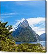 Milford Sound And Mitre Peak In Fjordland Np Nz Canvas Print