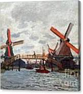 Mills At Westzijderveld Near Zaandam Canvas Print