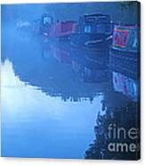 Misty Morning On The Grand Union Canal Canvas Print