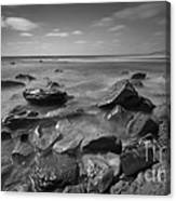 Misty Rocks Bw Canvas Print