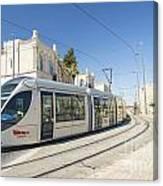 Modern Tram In Central Jerusalem Israel Canvas Print
