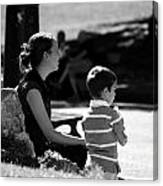 Mom And Son In The Park Canvas Print