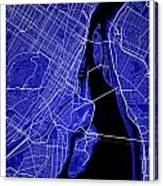 Montreal Street Map - Montreal Canada Road Map Art On Colored Ba Canvas Print