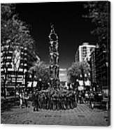Monument To The Castellers On Rambla Nova Avenue In Central Tarragona Catalonia Spain Canvas Print