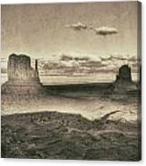 Monument Valley Aged Black And White Canvas Print